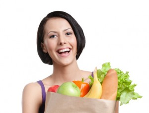 Healthy shopping, Isolated, white background
